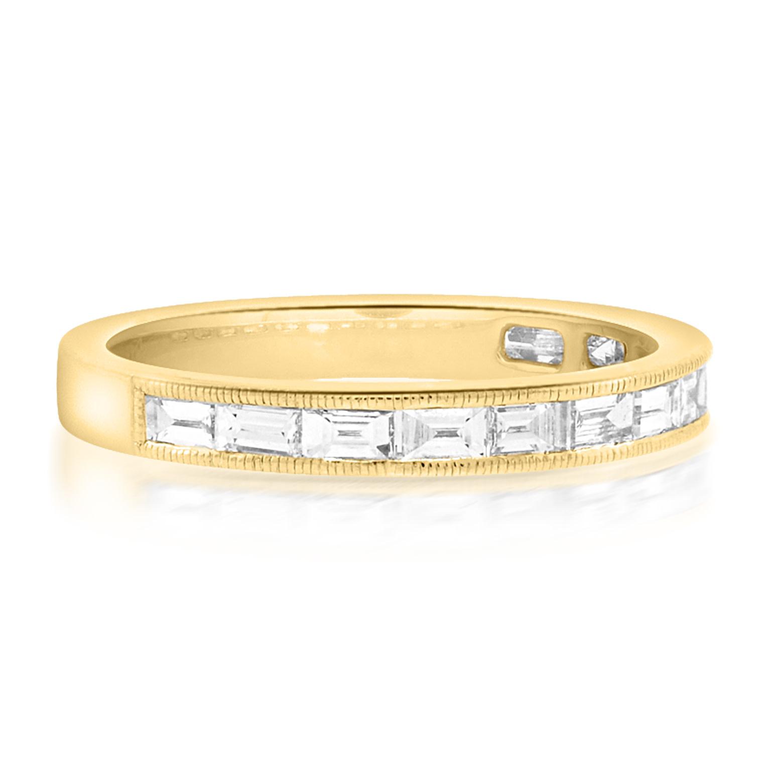 Beverley K Collection Baguette Diamond Half Eternity Gold Band