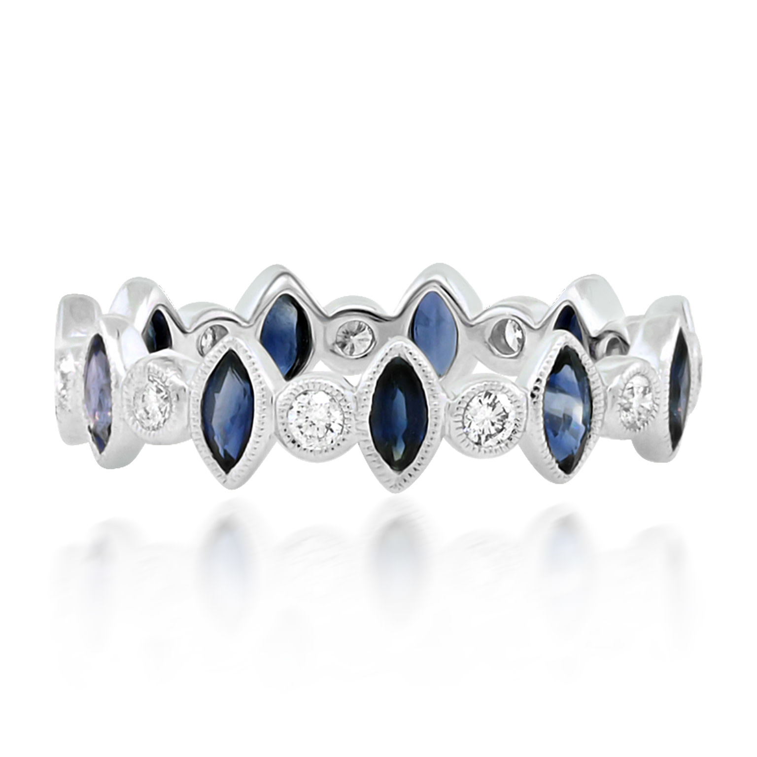 Beverley K Collection Marquise Sapphire and Diamond Eternity Ring