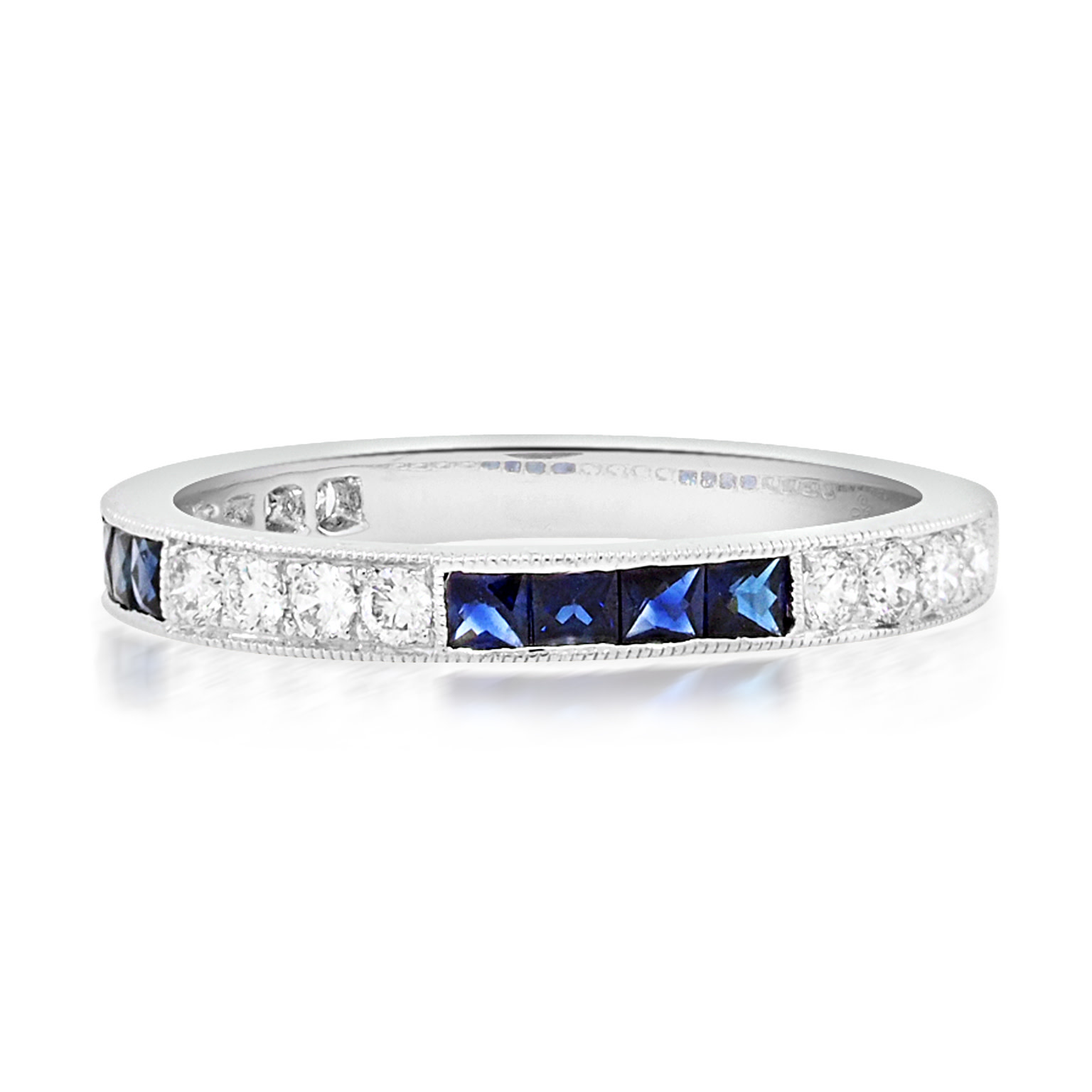 Beverley K Collection Sapphire and Diamond Half Eternity Ring