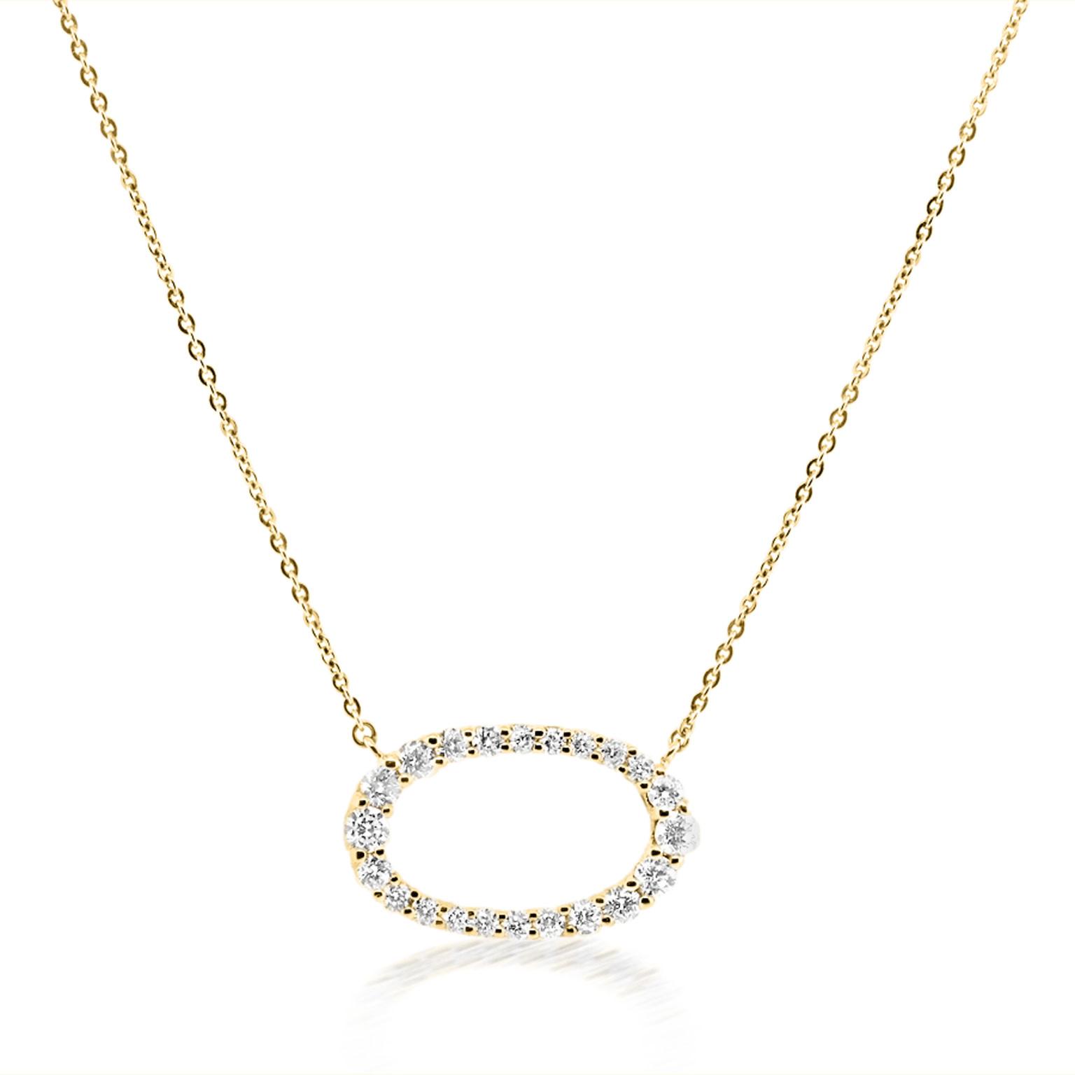 Trabert Goldsmiths Diamond Open Oval Halo Necklace