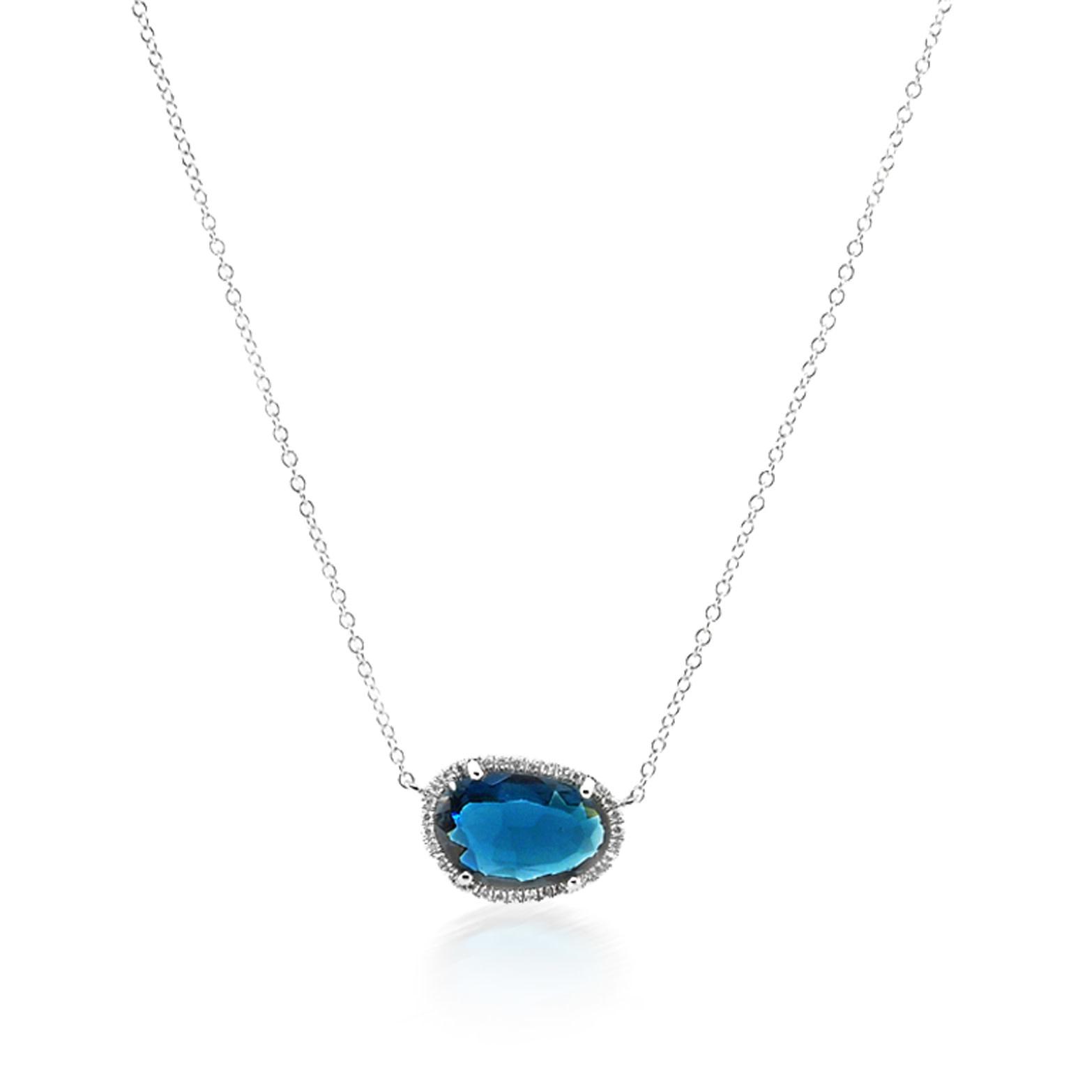 Asymmetrical London Blue Topaz Necklace