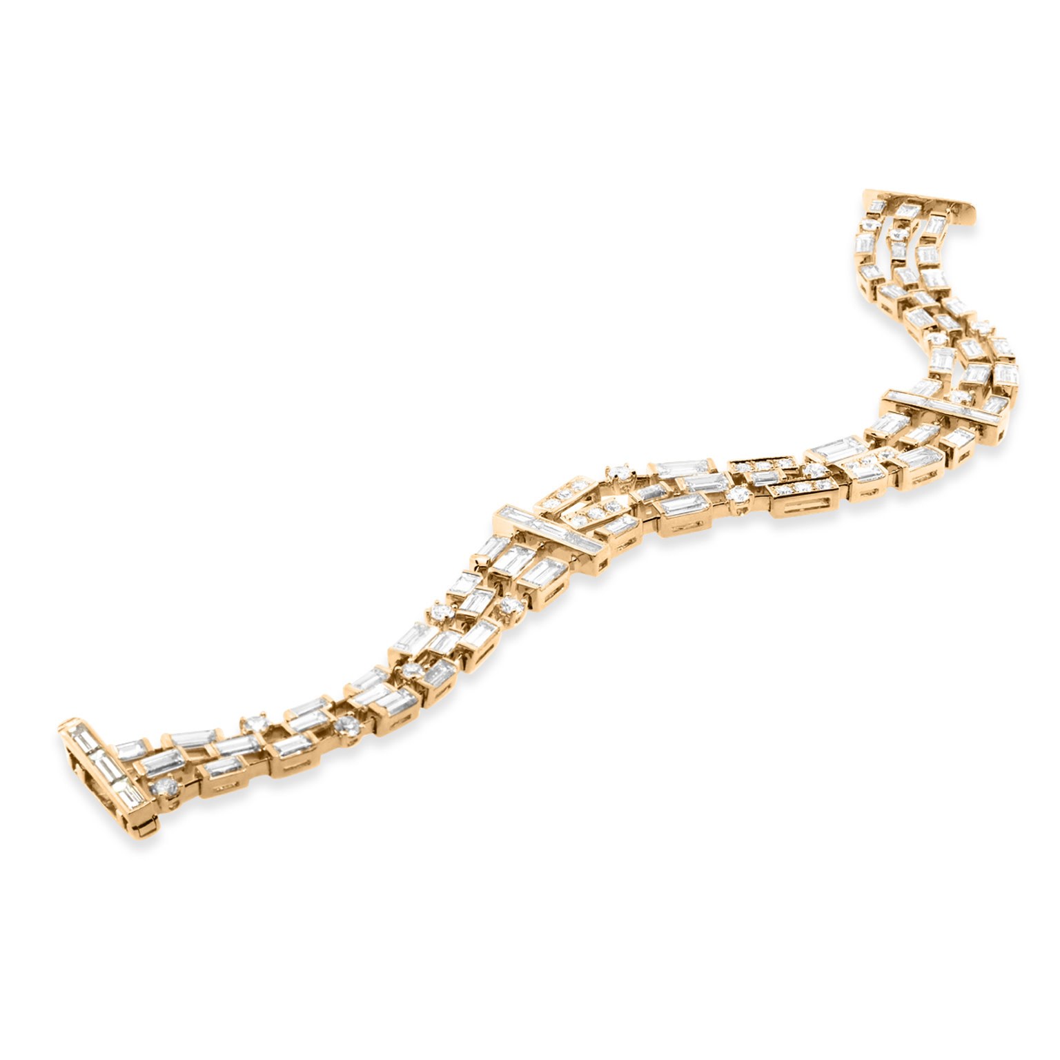 Beverley K Collection 13.17ct Baguette Diamond Bracelet