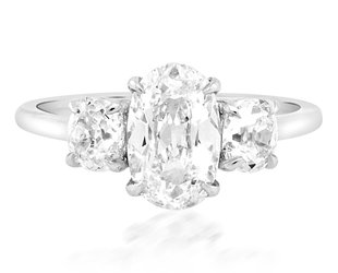 Trabert Goldsmiths 1.64ct JVVS1 Antique Oval 3-Stone Ring E3010