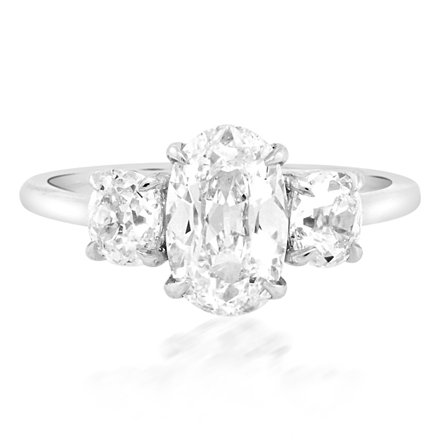 Trabert Goldsmiths 1.64ct JVVS1 Antique Oval 3-Stone Ring