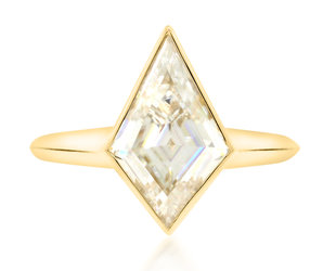 Trabert Goldsmiths 2ct Kite Shape Moissanite Jezebel Ring E3014