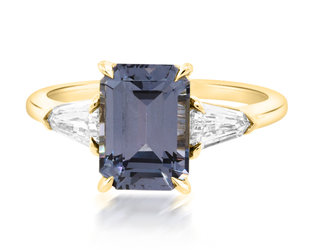 Trabert Goldsmiths 2.52ct Blue Spinel Trinity Ring E3016