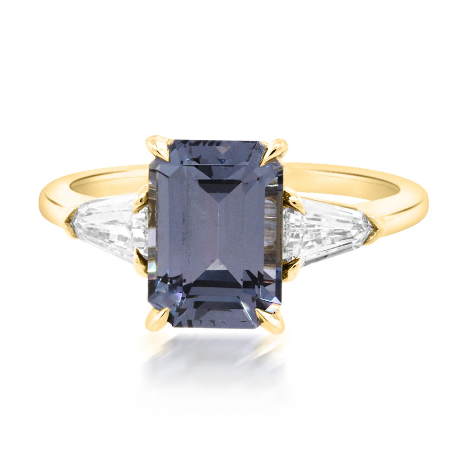Trabert Goldsmiths 2.52ct Blue Spinel Trinity Ring