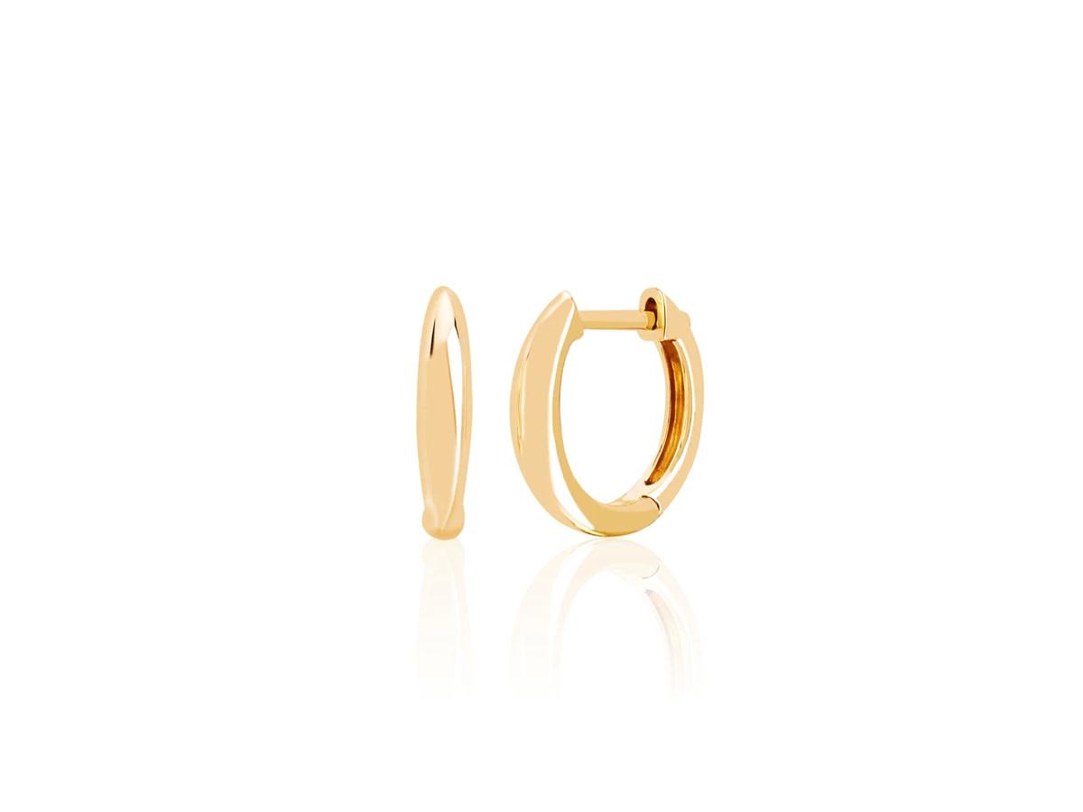 EF Collection Gold Dome Huggie Hoop Earrings