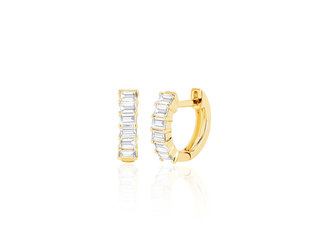EF Collection Baguette Diamond Huggie Hoop Earrings EF5