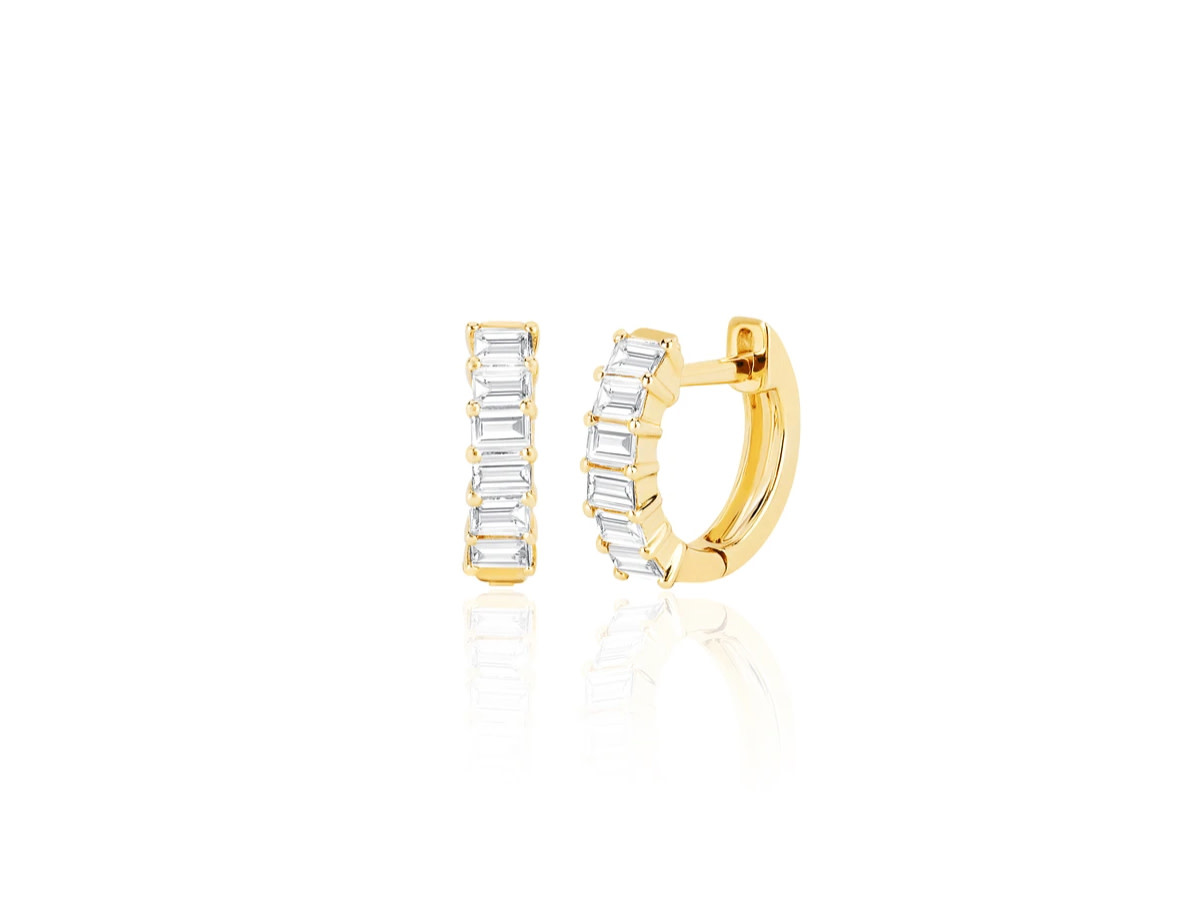 EF Collection Baguette Diamond Huggie Hoop Earrings