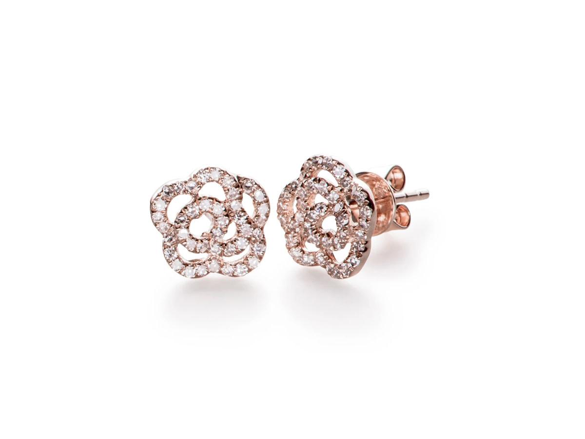 EF Collection Diamond Rose Stud Earrings