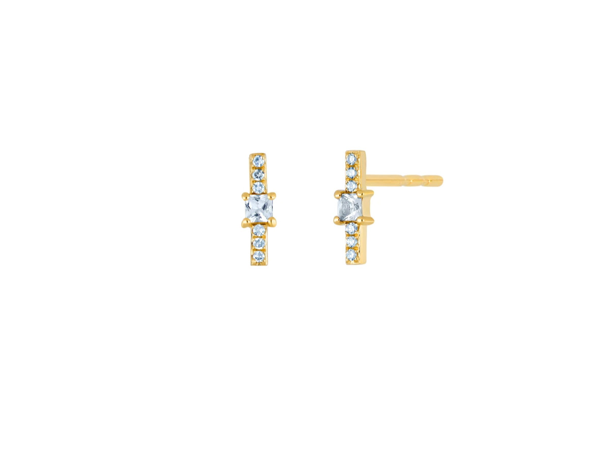 EF Collection White Quartz and Diamond Bar Stud Earrings