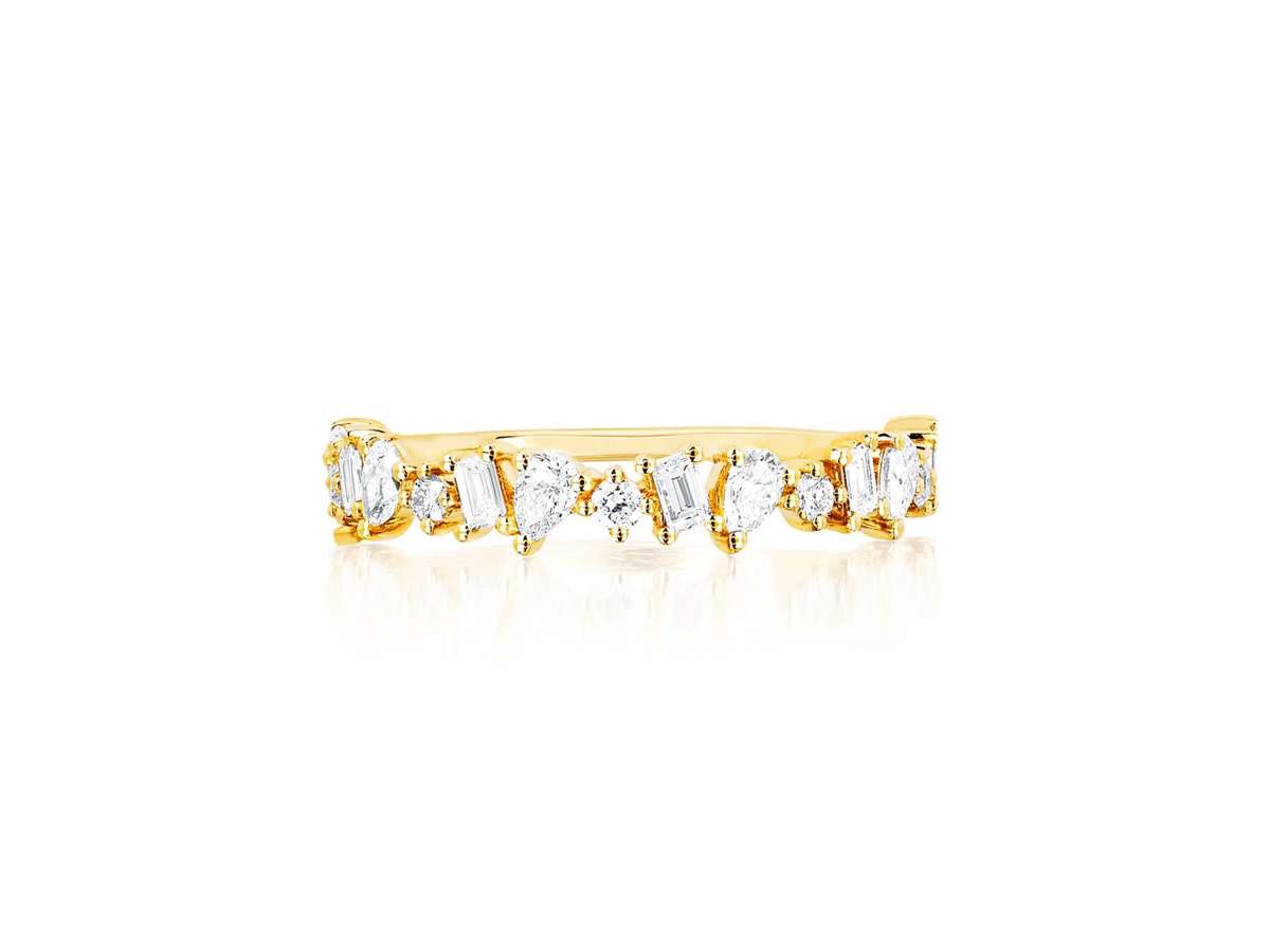 EF Collection Multi Faceted Half Diamond Ring