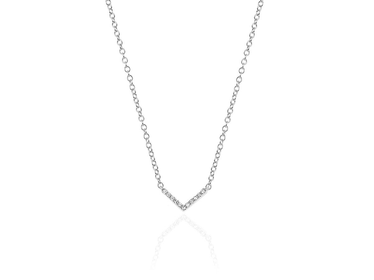EF Collection Mini Diamond Chevron White Gold Necklace