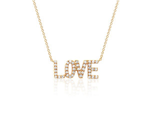 EF Collection Pave Diamond Love Necklace EF13