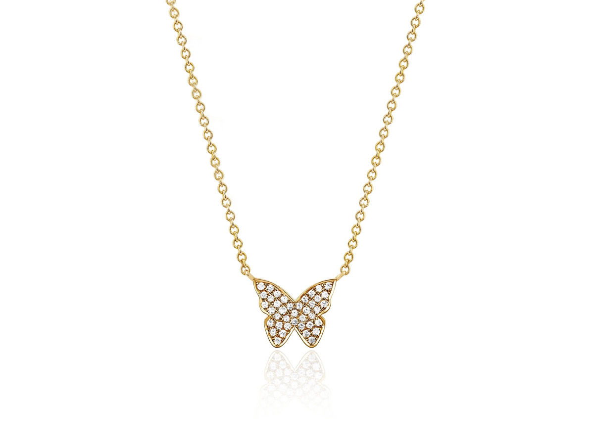 EF Collection Pave Diamond Butterly Necklace