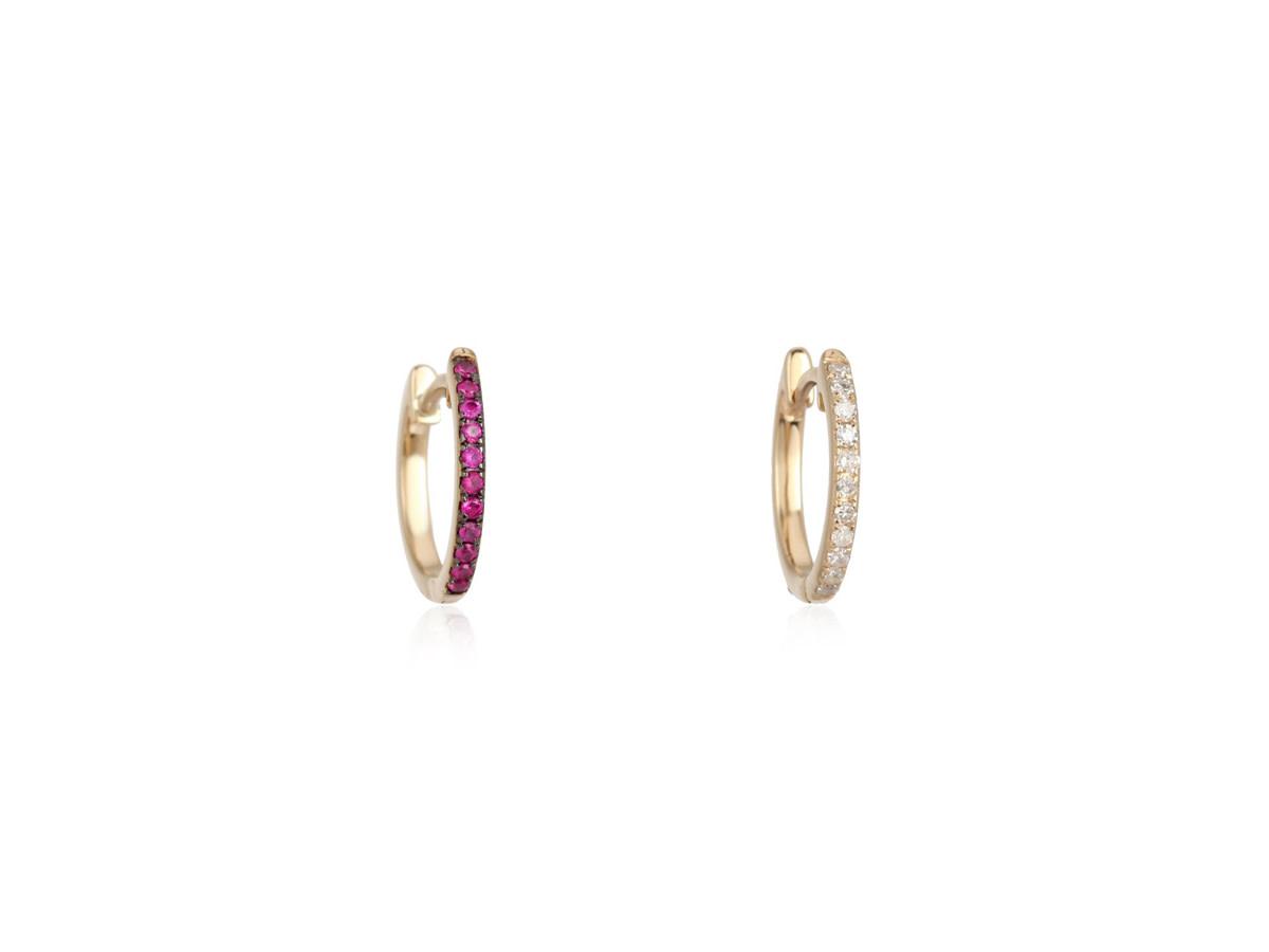 Trabert Goldsmiths Reversible Ruby and Diamond Hoop Earrings