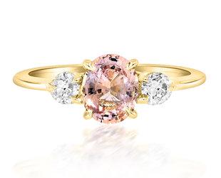 Trabert Goldsmiths 0.98ct Peach Sapphire Trinity Ring E3019