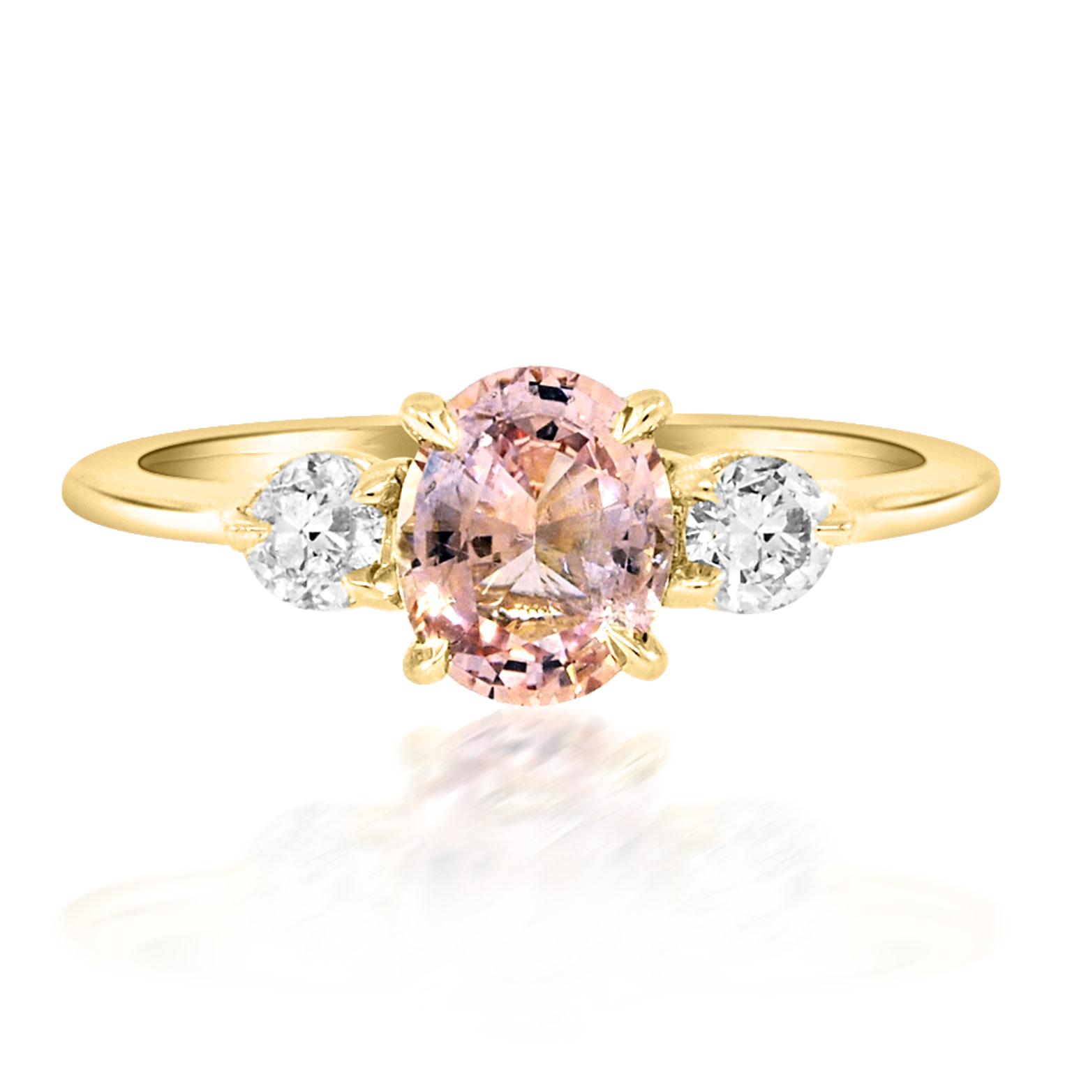 Trabert Goldsmiths 0.98ct Peach Sapphire Trinity Ring