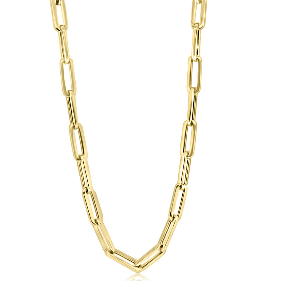 "Trabert Goldsmiths Large Gold Oval Link 20"" Chain Necklace E3021"
