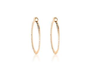 Medium Diamond Rose Gold Hoop Earrings DL93