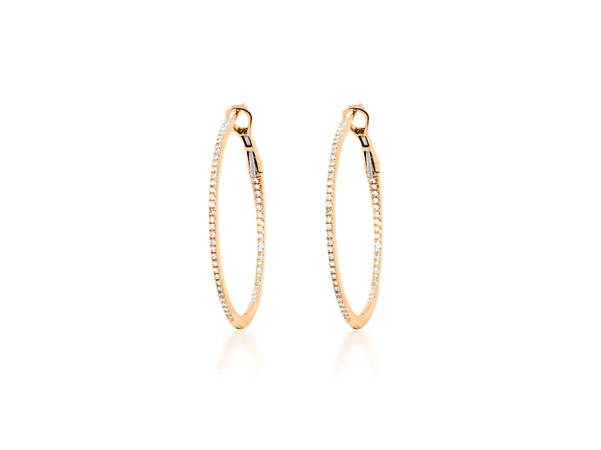 Medium Diamond Rose Gold Hoop Earrings