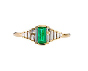 Artëmer Dainty Emerald Deco Baguette Ring AT29
