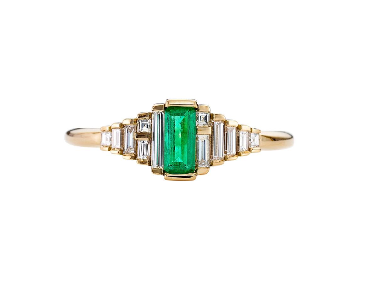 Artëmer Dainty Emerald Deco Baguette Ring