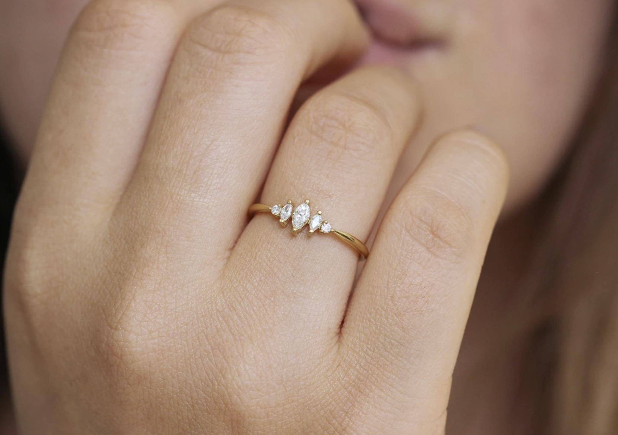 Artëmer Dainty Marquise Diamond Cluster Ring