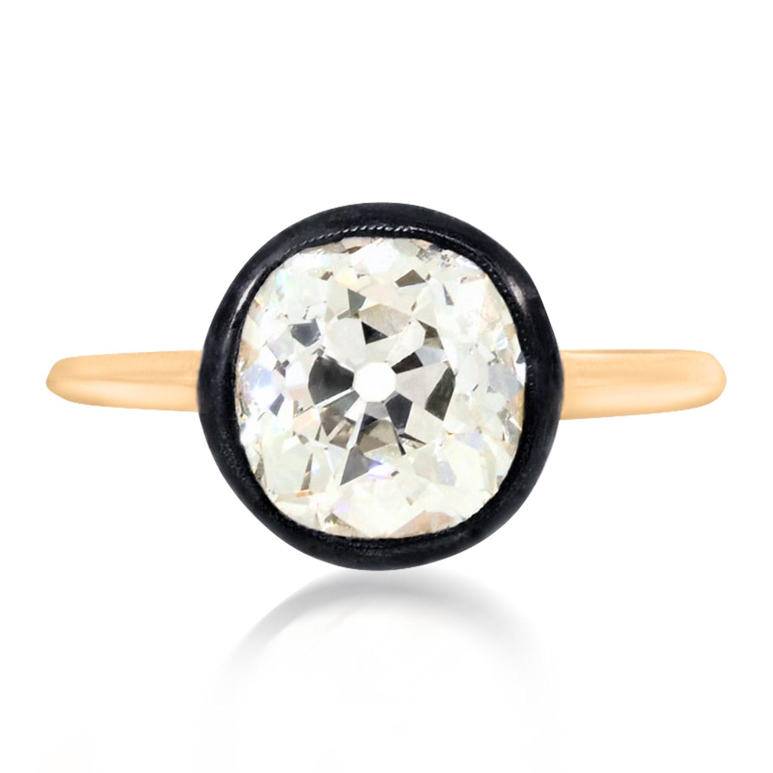 Trabert Goldsmiths 2.65ct Old Mine Cut Diamond Georgian Ring
