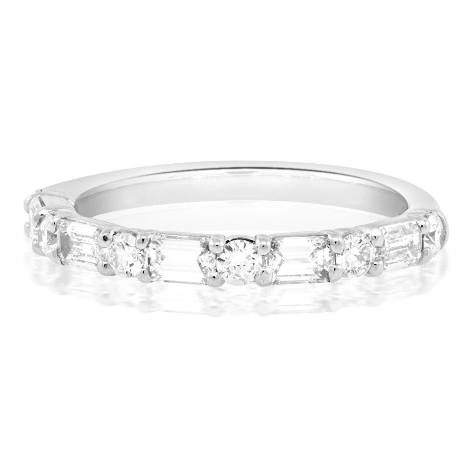 Trabert Goldsmiths Round and Baguette Diamond Garbo Ring