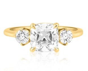 Trabert Goldsmiths 1.70ct Old Mine Lab Diamond Trinity Ring E3038