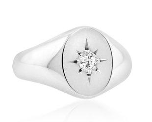 Trabert Goldsmiths Diamond White Gold Signet Ring E3035