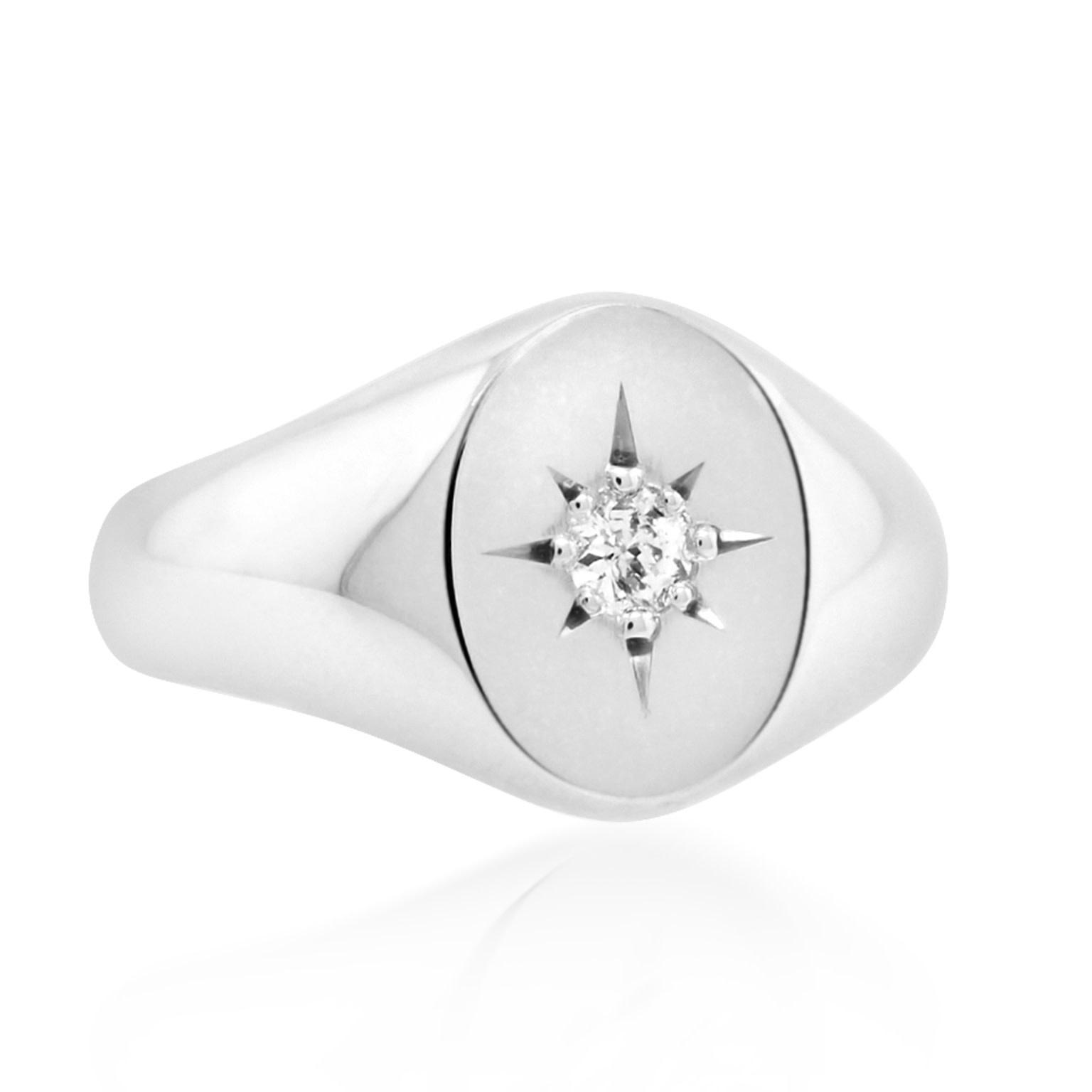 Trabert Goldsmiths Diamond White Gold Signet Ring