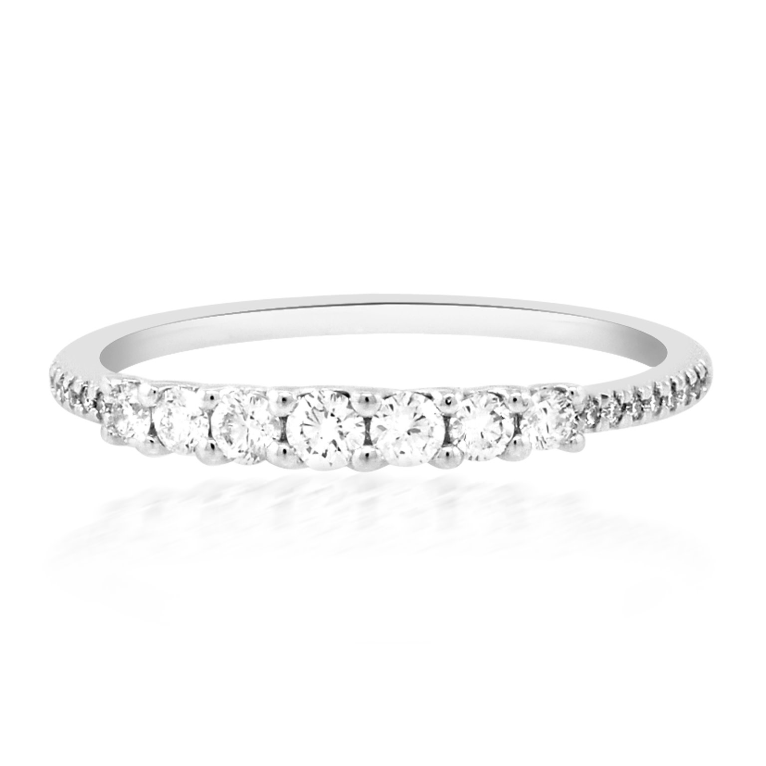 Diamond Shared Prong & Pave White Gold Ring