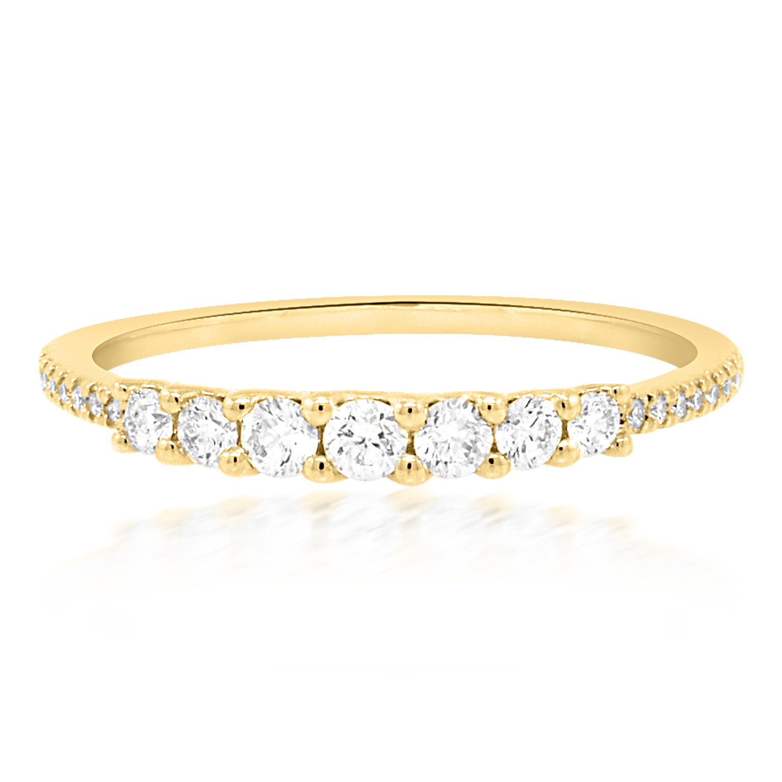 Diamond Shared Prong & Pave Yellow Gold Ring