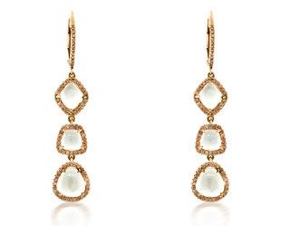Trabert Goldsmiths White Topaz and Diamond Drop Earrings E1499