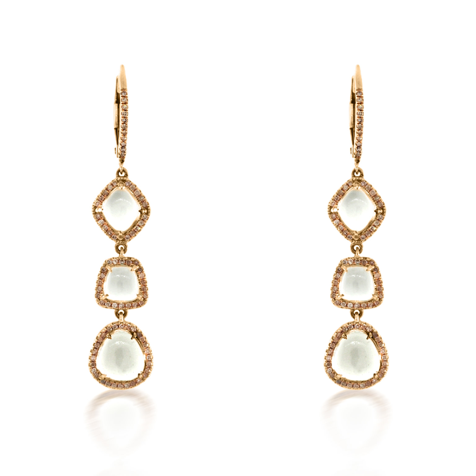 Trabert Goldsmiths White Topaz and Diamond Drop Earrings