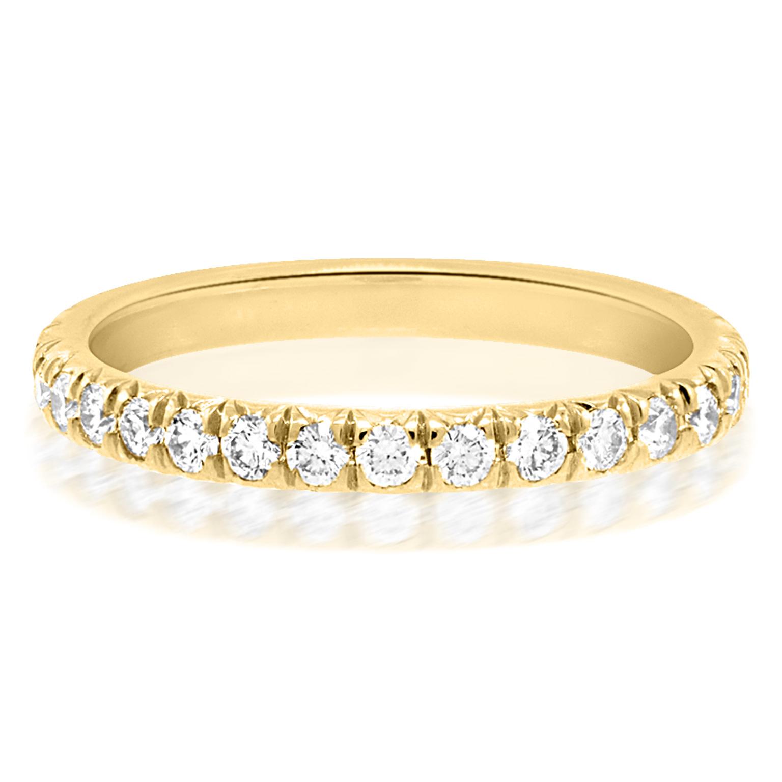 Trabert Goldsmiths Large Linea French Pave Diamond Yellow Gold Eternity Ring