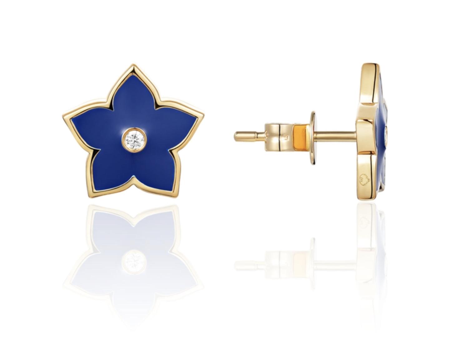 Navy Enamel Star Earrings