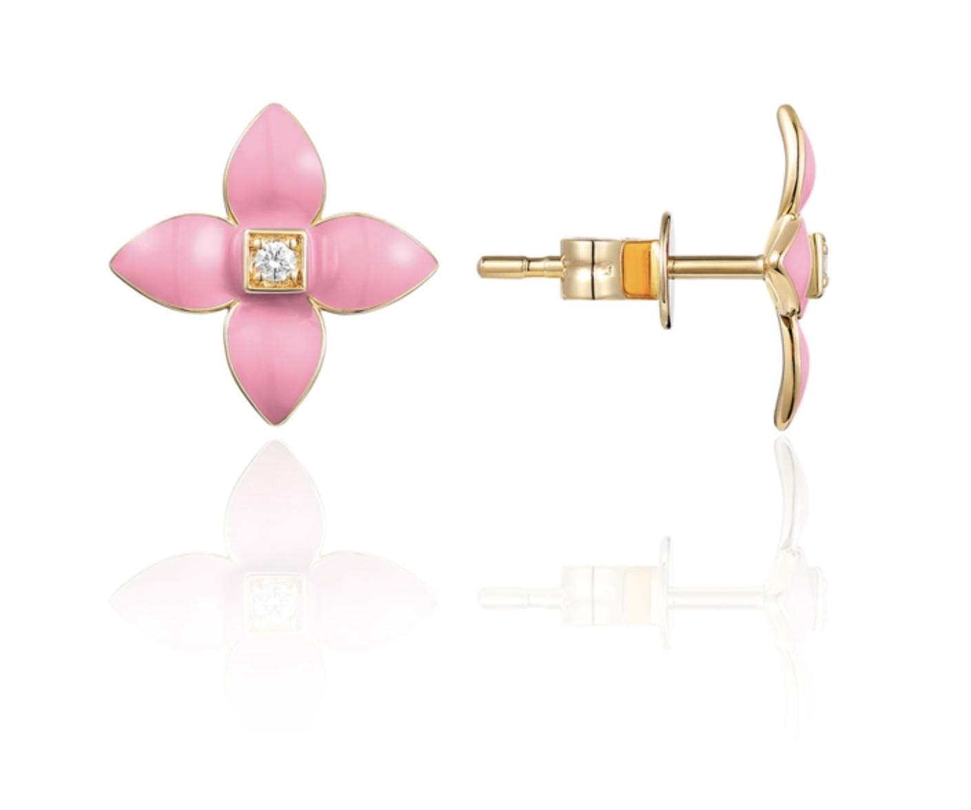 Pink Enamel Flower  Earrings LV122