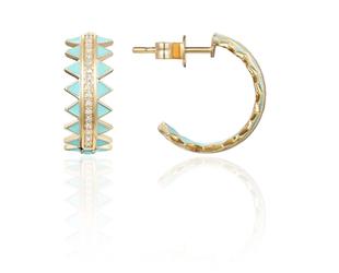 Turquoise Enamel & Diamond Hoop Earrings LV118