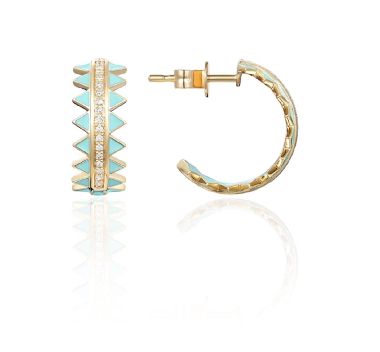 Turquoise Enamel & Diamond Hoop Earrings