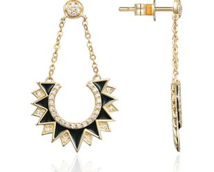 Black Enamel & Diamond Pave Chain Earrings LV119