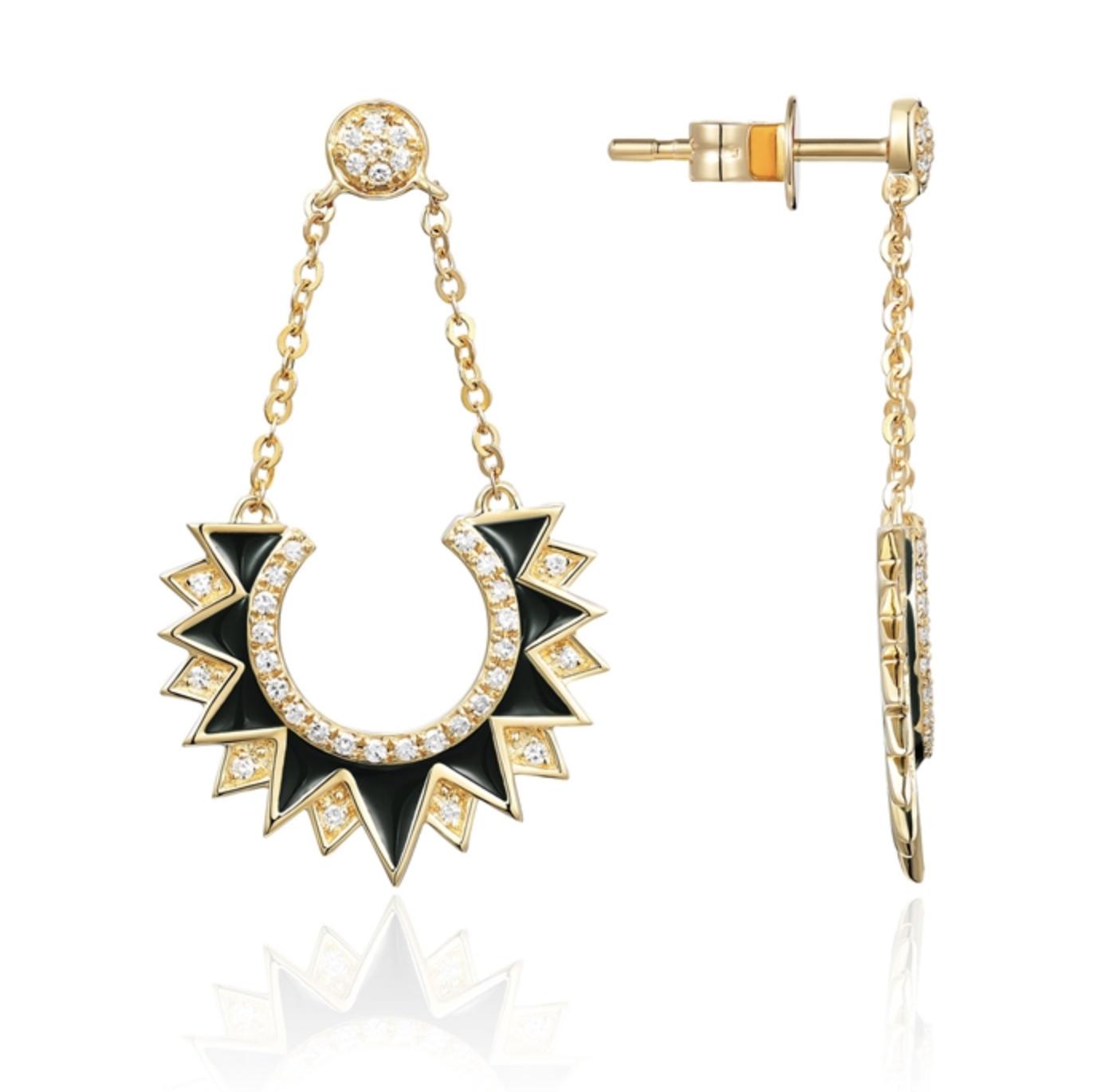 Black Enamel & Diamond Pave Chain Earrings