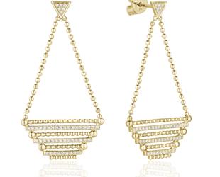Diamond Pave & Beaded Chain Earrings LV117