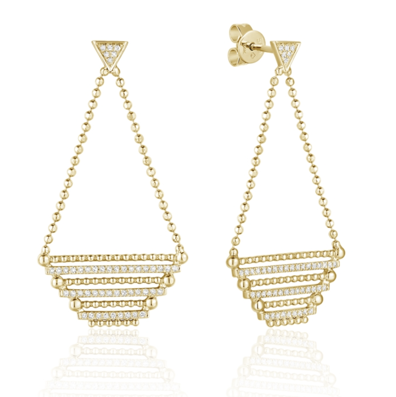 Diamond Pave & Beaded Chain Earrings