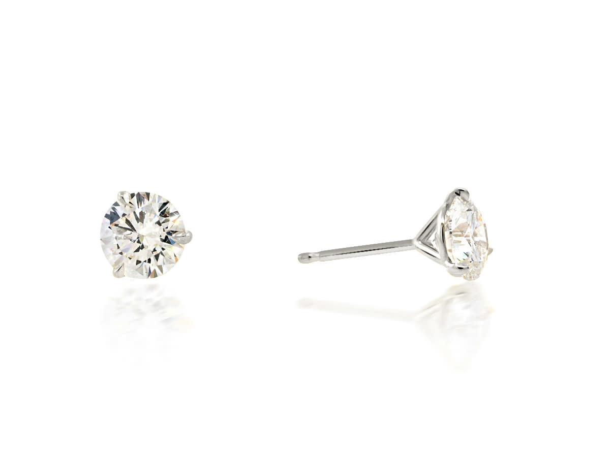 Trabert Goldsmiths 2.16ct ISI2 Round Brilliant Diamond Studs