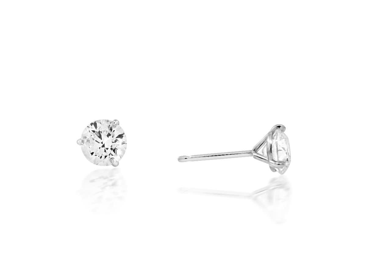 Trabert Goldsmiths 1.40ct JSI2 Round Brilliant Diamond Studs