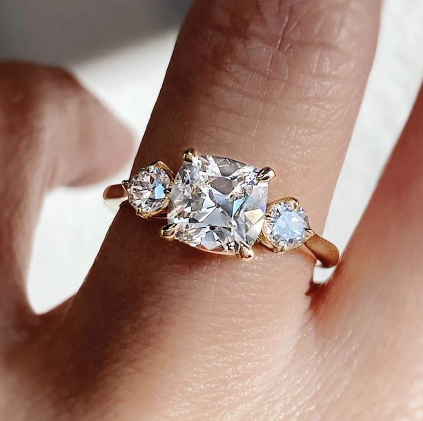Trabert Goldsmiths 1.70ct Old Mine Lab Diamond Trinity Ring